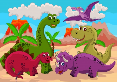 dinosaur cartoon: Dinosaurio de dibujos animados Vectores