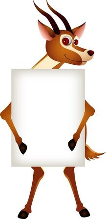 cute gazelle cartoon with blank sign Stock Vector - 14524426