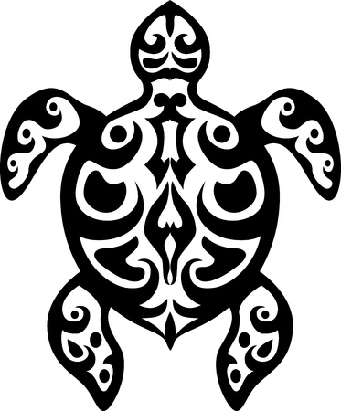 sharp curve: Turtle tribal tattoo  Illustration