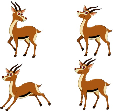 various funny expressions gazelle Vector