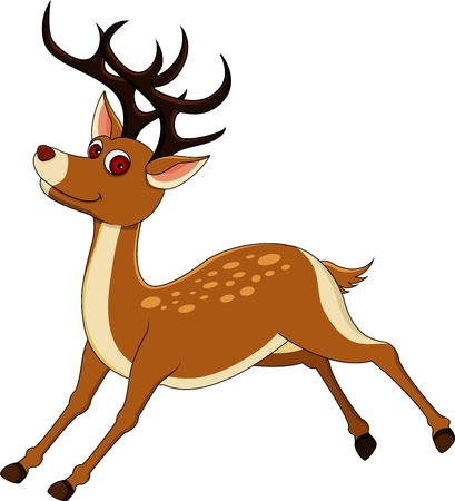red nose: cute deer cartoon