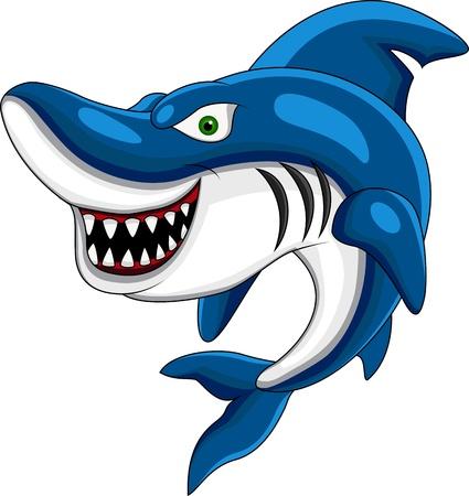 cartoon shark: Feliz tiburones Vectores