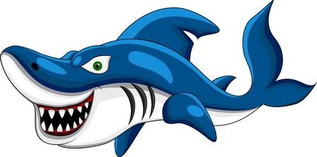 tiburon caricatura: Feliz tiburones Vectores