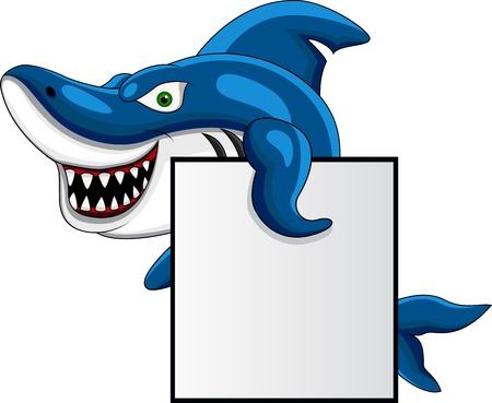 Shark and clown fish with blank sign  Vector