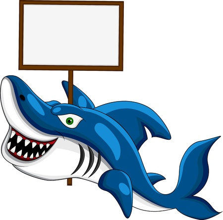 Shark with blank sign  Stock Vector - 14557464
