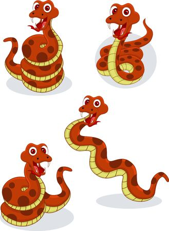 creeping: Illustraiton of comical snakes collection on white