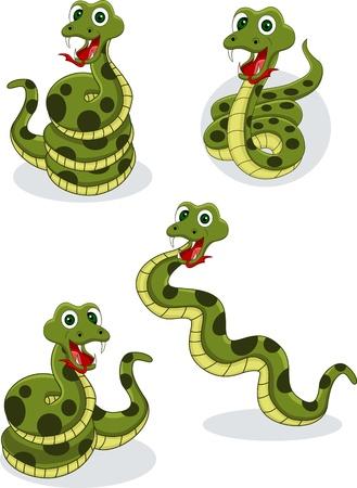 serpiente cobra: Illustraiton de recolección de serpientes cómica en blanco
