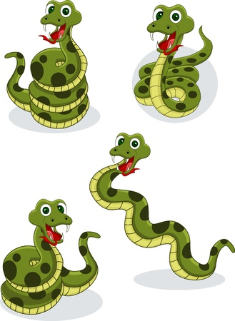 venomous snake: Illustraiton of comical snakes collection on white