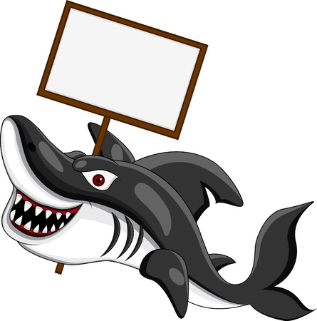 angry shark with blank sign Vector