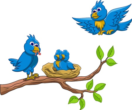 �rboles con pajaros: Amar a la alimentaci�n de aves Vectores