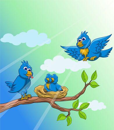 Amar a la alimentación de aves en la mañana