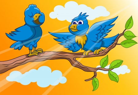 birds are singing in the morning Vector