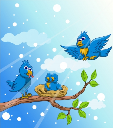 blue bird family with snow background Vector