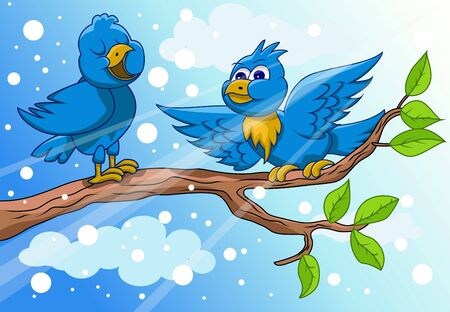 bird are singing with snow background Vector