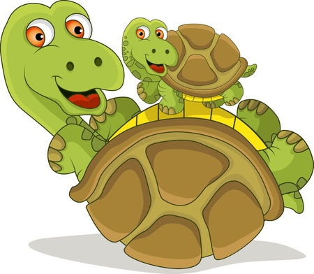 Turtle cartoon playing with his soon Vector