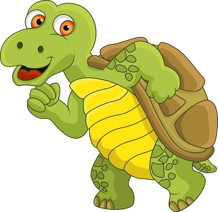 reptiles: Turtle cartoon running Illustration