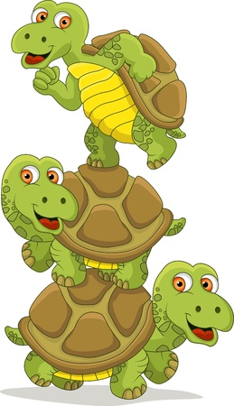 funny turtle cartoon teamwork Vector