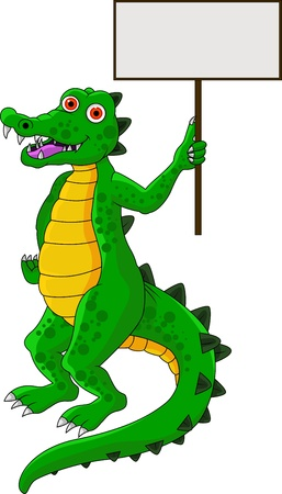 funny crocodile cartoon with blank sign Vector