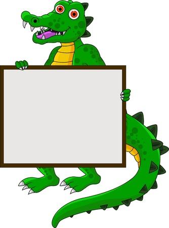 funny crocodile cartoon with blank sign Vector
