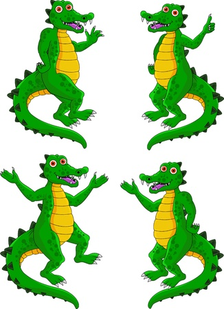 crocodile cartoon expression set Vector