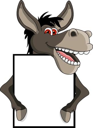 donkey: grappig lachende ezel cartoon met lege bord Stock Illustratie