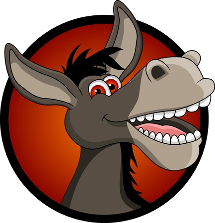 funny donkey head cartoon Vector