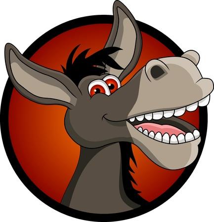 donkey: grappige ezel hoofd cartoon Stock Illustratie