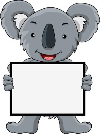 koala cartoon met lege bord Vector Illustratie