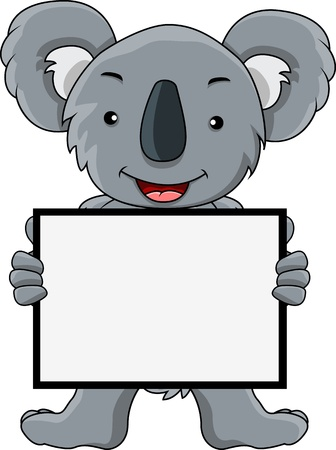 koala cartoon with blank sign