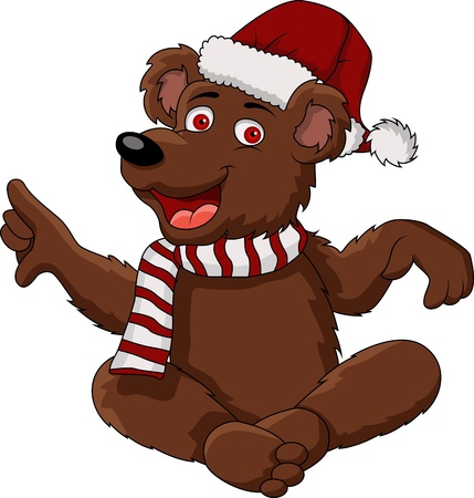 funny christmas bear Vector