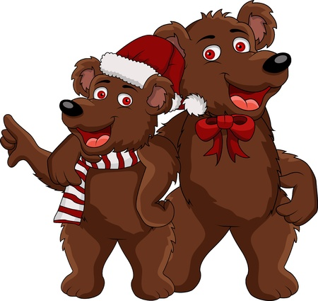 funny christmas bear cartoon Stock Vector - 14629600