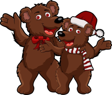 funny christmas bear cartoon Vector