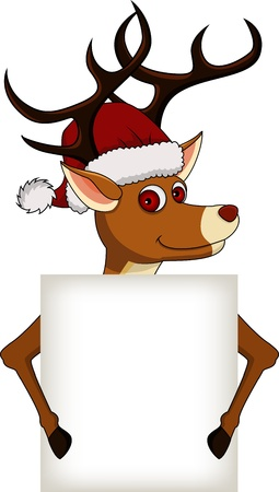 funny christmas deer cartoon with blank sign Vector