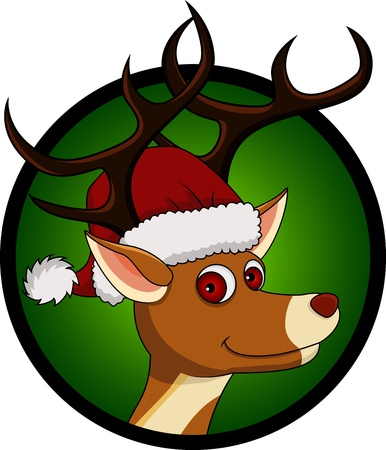 funny christmas deer head cartoon Vector