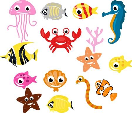 vis: collectie van vissen en zeeplanten