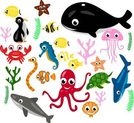 collection of fish and marine plants Vector