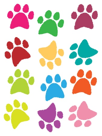 cat dog: illustration of the footprints of dogs and cats are beautiful