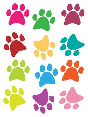 huellas de perro: ilustraci�n de las huellas de los perros y los gatos son hermosos