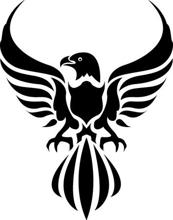 adler silhouette: Schwarzer Adler auf weißem Hintergrund Illustration