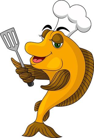 gourmet cooks: cartoon cook fish Illustration