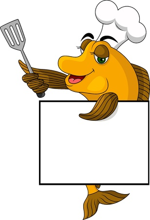 fish isolated: cartoon cook fish with blank sign Illustration