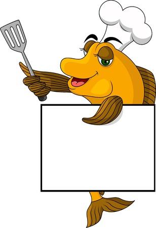cook hats: dibujos animados de pescado cocinero con cartel en blanco