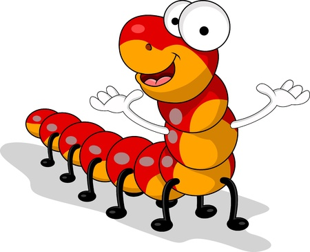 cartoon larva: red worm cartoon Illustration