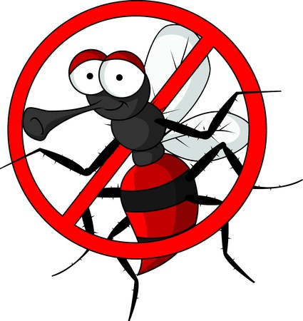 stop mosquito cartoon Vector