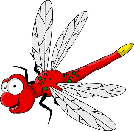 cartoon insect: funny red dragonfly cartoon