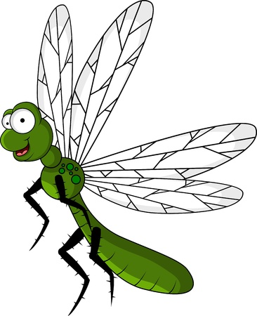 dragon fly: funny green dragonfly cartoon