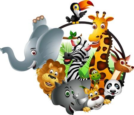 Wild African animal cartoon Illustration