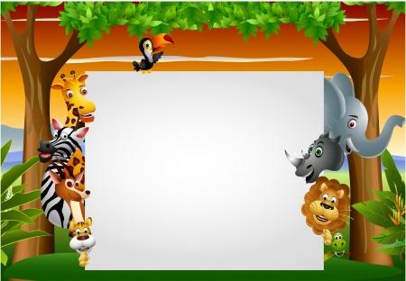 chimpansee: Wilde Afrikaanse dieren cartoon met lege teken
