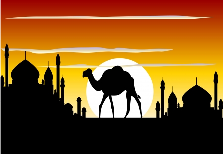 beauty silhouette of camel trip with mosque background Vector