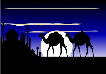 beauty silhouette of camel trip with mosque background Stock Vector - 14791636